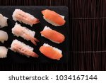 sushi japanese food various top ... | Shutterstock . vector #1034167144