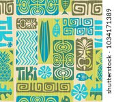 seamless exotic tiki pattern.... | Shutterstock .eps vector #1034171389