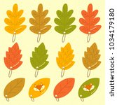 autumn leaves with different... | Shutterstock .eps vector #1034179180