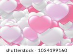 red and pink heart. valentine's ... | Shutterstock . vector #1034199160
