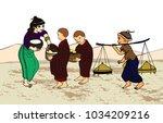 myanmar girl donate monks ...   Shutterstock .eps vector #1034209216
