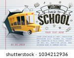 paper art of school bus jumping ... | Shutterstock .eps vector #1034212936