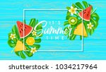 it's summer time web banner.... | Shutterstock .eps vector #1034217964