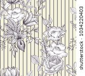 vintage vector floral seamless...   Shutterstock .eps vector #1034220403