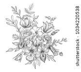 vintage vector floral... | Shutterstock .eps vector #1034220538