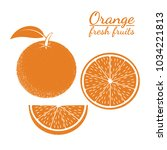 contour icon of oranges on... | Shutterstock .eps vector #1034221813