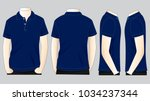 set navy blue polo shirt vector ... | Shutterstock .eps vector #1034237344