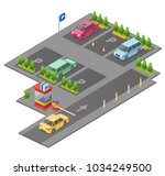 parking lot isometric 3d vector ...   Shutterstock .eps vector #1034249500
