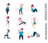 girl does exercises and pumps... | Shutterstock .eps vector #1034251594