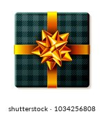 wrapped gift box with ribbon... | Shutterstock . vector #1034256808