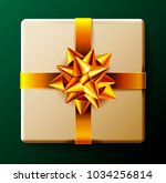 wrapped gift box with gold... | Shutterstock . vector #1034256814