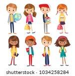 vector set with cute kids | Shutterstock .eps vector #1034258284
