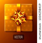 wrapped gift box decorated with ... | Shutterstock .eps vector #1034258419