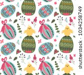 seamless spring vector pattern... | Shutterstock .eps vector #1034258749