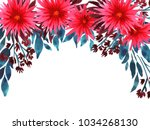 watercolor spider flowers.... | Shutterstock . vector #1034268130