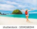 summer lifestyle traveler woman ... | Shutterstock . vector #1034268244
