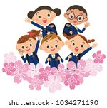 admission cherry blossom child... | Shutterstock .eps vector #1034271190