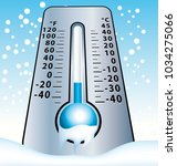 frozen thermometer with falling ... | Shutterstock . vector #1034275066