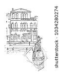 venetian young gondolier and... | Shutterstock .eps vector #1034280274