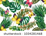 tropical palm leaves  jungle... | Shutterstock .eps vector #1034281468