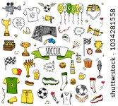 hand drawn doodle soccer set... | Shutterstock .eps vector #1034281558