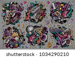 colorful vector hand drawn... | Shutterstock .eps vector #1034290210