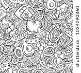 cartoon cute doodles hand drawn ... | Shutterstock .eps vector #1034290360