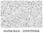 line art vector hand drawn... | Shutterstock .eps vector #1034290366