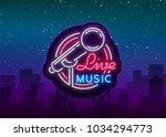 live musical vector neon logo ... | Shutterstock .eps vector #1034294773