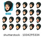 the fourth set of muslim woman... | Shutterstock .eps vector #1034295334