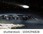amazing and terrible comet ... | Shutterstock . vector #1034296828