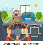 woman hands of a driver on... | Shutterstock .eps vector #1034296984