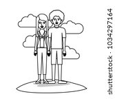couple monochrome scene outdoor ... | Shutterstock .eps vector #1034297164