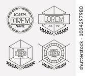 retro vintage insignias sketch... | Shutterstock .eps vector #1034297980