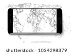 realistic mobile phone smart... | Shutterstock .eps vector #1034298379