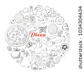 pizza and various products in... | Shutterstock .eps vector #1034304634