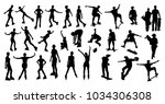 roller and skater silhouettes | Shutterstock .eps vector #1034306308