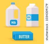 dairy  milk  butter. flat... | Shutterstock .eps vector #1034309179
