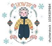 cute winter baby boy in warm... | Shutterstock .eps vector #1034309884