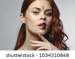 beautiful woman  zodiac sign ...   Shutterstock . vector #1034310868