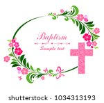 baptism card design with cross. ... | Shutterstock .eps vector #1034313193