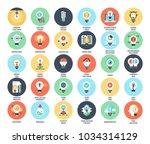 vector set of light bulbs flat... | Shutterstock .eps vector #1034314129