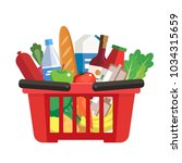grocery basket   a shopping... | Shutterstock . vector #1034315659
