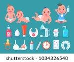 children in diapers with bottle ... | Shutterstock .eps vector #1034326540