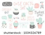 cute summer theme cactus.... | Shutterstock .eps vector #1034326789