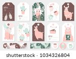 set of cute ready to use gift... | Shutterstock .eps vector #1034326804