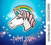 cute unicorn animal  stickers... | Shutterstock .eps vector #1034331898