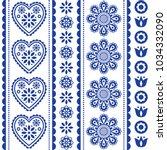 scandinavian seamless folk art... | Shutterstock .eps vector #1034332090