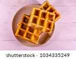 ceramic plate with belgian...   Shutterstock . vector #1034335249