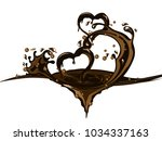 two hearts  in chocolate splash | Shutterstock .eps vector #1034337163